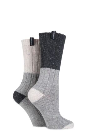 Ladies 2 Pair Glenmuir Block Striped Speckled Yarn Merino Wool Blend Boot Socks Charcoal 4-8
