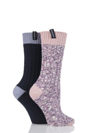 Ladies 2 Pair Glenmuir Marl Knit and Plain Boot Socks