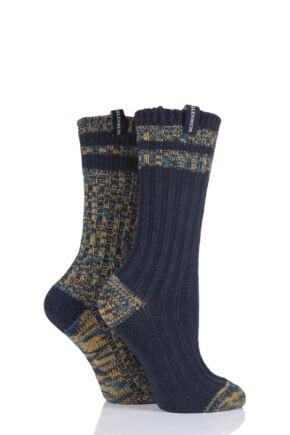 Ladies 2 Pair Glenmuir Multi Textured Boot Socks