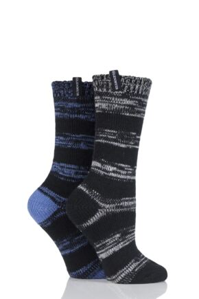 Ladies 2 Pair Glenmuir Broken Stripe Boot Socks