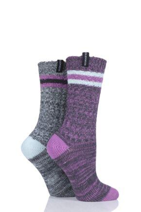 Ladies 2 Pair Glenmuir Coloured Textured Boot Socks