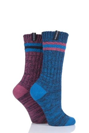 Ladies 2 Pair Glenmuir Coloured Textured Boot Socks