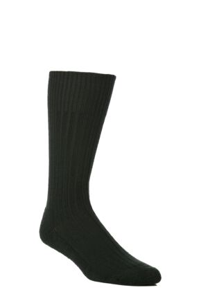 Mens 1 Pair SockShop of London Wool Rib Cushioned Boot Socks Dark Green