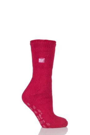 Ladies 1 Pair SockShop Slipper Heat Holders Thermal Socks Rose