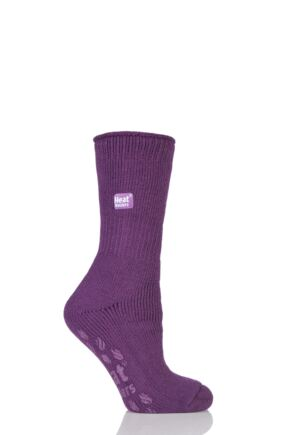 Ladies 1 Pair SockShop Slipper Heat Holders Thermal Socks Violet
