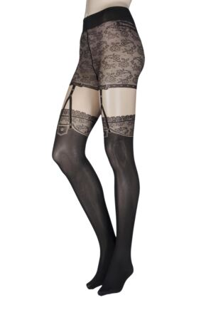 Ladies 1 Pair Trasparenze Demme Mock Suspender Tights