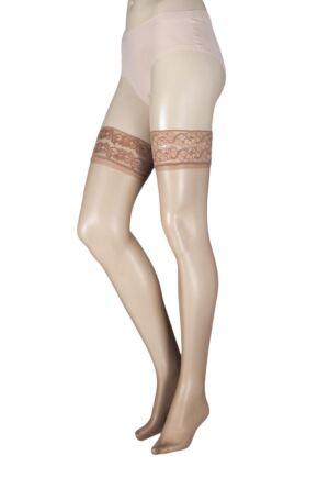 edc88588c90 Ladies 1 Pair Pretty Legs Classic Nylons Lace Top Hold Ups Natural Medium    Large