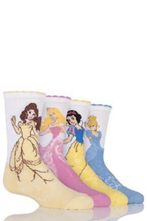 Girls 4 Pair SOCKSHOP Disney Princess Socks