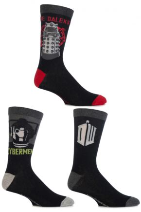 Mens 3 Pair SockShop Doctor Who Socks