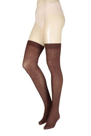 Ladies 1 Pair Trasparenze Dora Ribbed Wool Over The Knee Socks Dark Brown