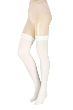 Ladies 1 Pair Trasparenze Dora Ribbed Wool Over The Knee Socks Cream One Size