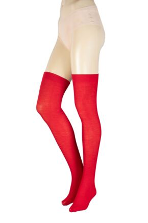 Ladies 1 Pair Trasparenze Dora Ribbed Wool Over The Knee Socks Red One Size