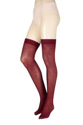 Ladies 1 Pair Trasparenze Dora Ribbed Wool Over The Knee Socks Wine Red