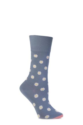 Ladies 1 Pair Corgi Fine Gauge Cotton Daisy Patterned Socks Blue
