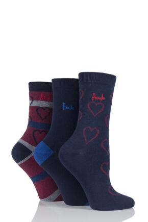 Ladies 3 Pair Pringle Shanice Hearts and Plain Socks