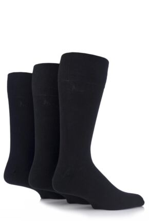 Mens 3 Pair Pringle Dunvegan Comfort Cuff Plain Cotton Socks Black