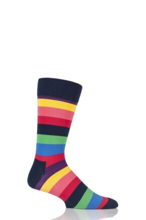Mens and Ladies 1 Pair Happy Socks Stripe Combed Cotton Socks Multi 7.5-11.5 Unisex