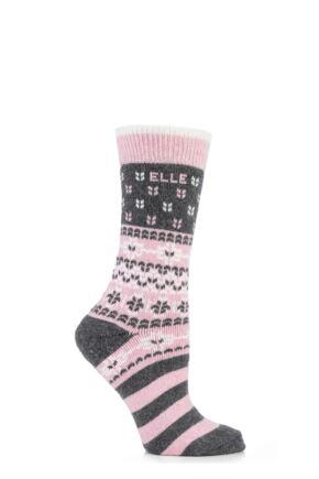 Ladies 1 Pair Elle Wool Patterned Winter Activity Boot Socks Blush
