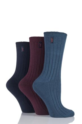 Ladies 3 Pair Jeep Spirit Ribbed Cotton Socks