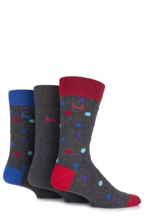 Mens 3 Pair Pringle Stranraer Polka Dot Cotton Socks