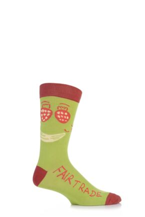Mens 1 Pair SockShop CAFOD Fairtrade Cotton Fruit Face Socks Green