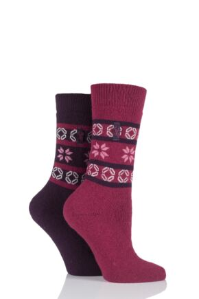 Ladies 2 Pair Jeep Fair Isle Jacquard Socks Plum 4-7 Ladies