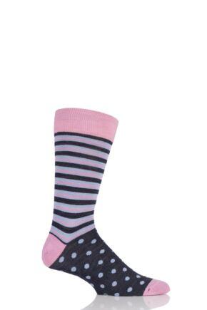 Mens 1 Pair Viyella Half Stripe and Half Dots Wool Blend Socks 33% OFF
