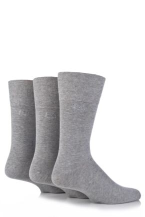 Mens 3 Pair Pringle Dunvegan Comfort Cuff Plain Cotton Socks Grey
