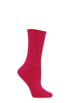 Ladies 1 Pair Elle Wool and Viscose Ribbed Bed Socks Red Plum