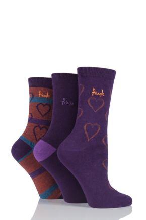 Ladies 3 Pair Pringle Shanice Hearts and Plain Socks Purple 4-8 Ladies