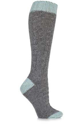 Ladies 1 Pair Urban Knit Cable Knit Wool Blend Knee High Socks 25% OFF Grey 4-8 Ladies