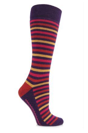 Ladies 1 Pair Elle Wool and Viscose Striped Slipper Socks Winter Purple