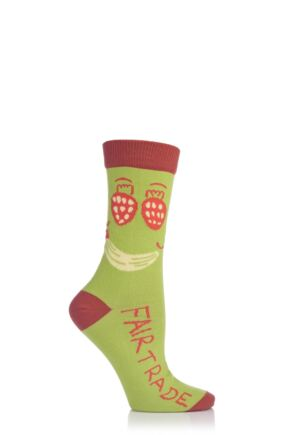 Ladies 1 Pair SOCKSHOP CAFOD Fairtrade Cotton Fruit Face Socks Green