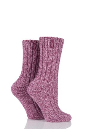 Ladies 2 Pair Jeep Terrain Boot Socks Cerise 4-7 Ladies