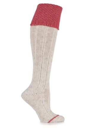 Ladies 1 Pair Urban Knit Ribbed Wool Blend Knee High Socks with Moss Welt