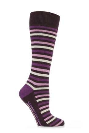 Ladies 1 Pair Elle Wool and Viscose Striped Slipper Socks Chocolate