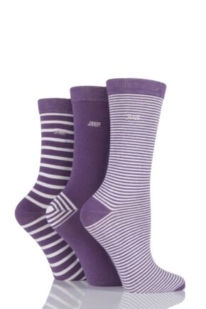 Ladies 3 Pair Jeep Spirit Mixed Stripe and Plain Cotton Socks Plum 4-7 Ladies