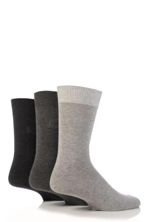 Mens 3 Pair Pringle Endrick Plain Trouser Socks Charcoal - Charcoal Grey