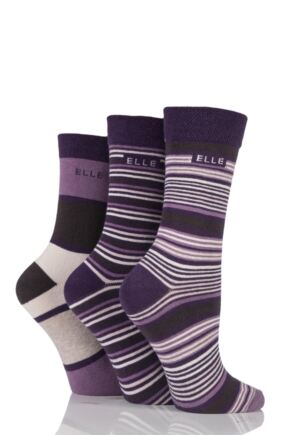Ladies 3 Pair Elle Striped Cotton Socks Purple Raven 4-8 Ladies