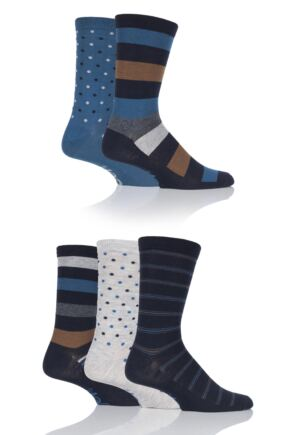 Mens 5 Pair Jeep Everyday Urban Trail Stripe and Dots Socks