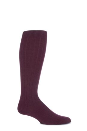 Mens 1 Pair Viyella Knee High Wool Ribbed Socks With Hand Linked Toe Mulberry