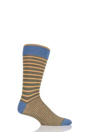 Mens 1 Pair Viyella Two Stripe Wool Blend Socks Lovat 6-11 Mens