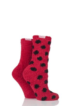 Ladies 2 Pair Coca Cola Spots and Plain Cosy Socks Red 4-8 Ladies