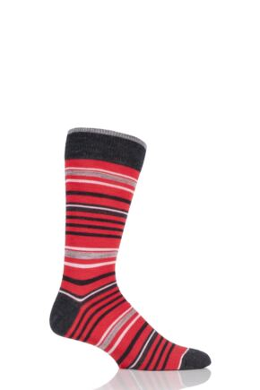 Mens 1 Pair Viyella Varied Stripe Wool Blend Socks Red 6-11 Mens