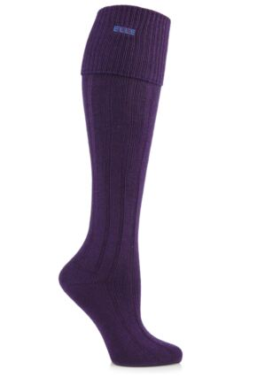 Ladies 1 Pair Elle Wool Ribbed Knee High Socks with Cuff Winter Purple
