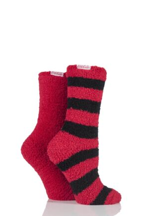 Ladies 2 Pair Coca Cola Stripes and Plain Cosy Socks Red 4-8 Ladies