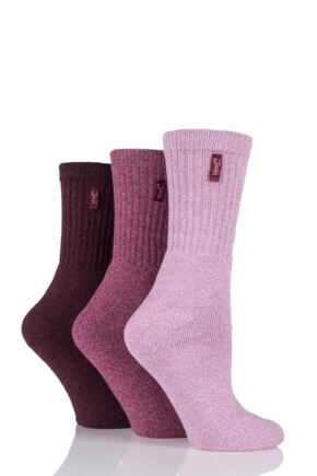 Ladies 3 Pair Jeep Terrain Leisure Socks Plum 4-7 Ladies