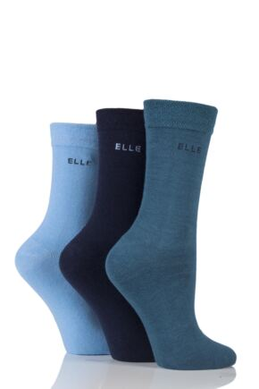 Ladies 3 Pair Elle Plain Comfort Cuff Cotton Socks with Hand Linked Toes Teal Jewel 4-8 Ladies