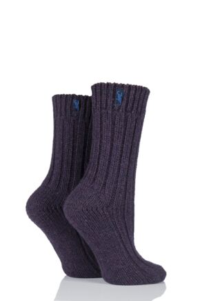 Ladies 2 Pair Jeep Terrain Boot Socks Purple 4-7 Ladies