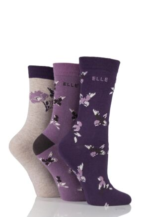 Ladies 3 Pair Elle Patterned Bird Cotton Socks Purple Raven 4-8 Ladies